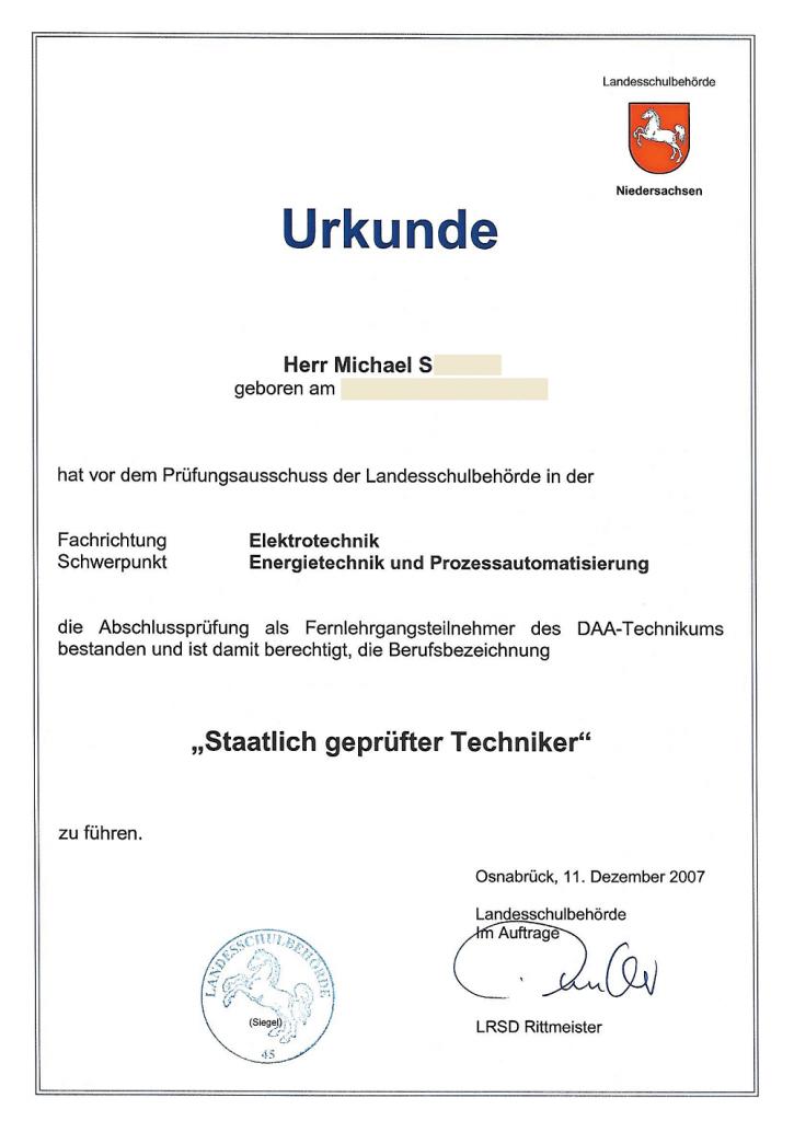 Staatlich geprüfter Techniker Urkunde - Technikerzeugnis