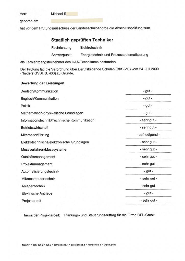 Staatlich geprüfter Techniker Technikerzeugnis - Abschlusszeugnis - Notenübersicht