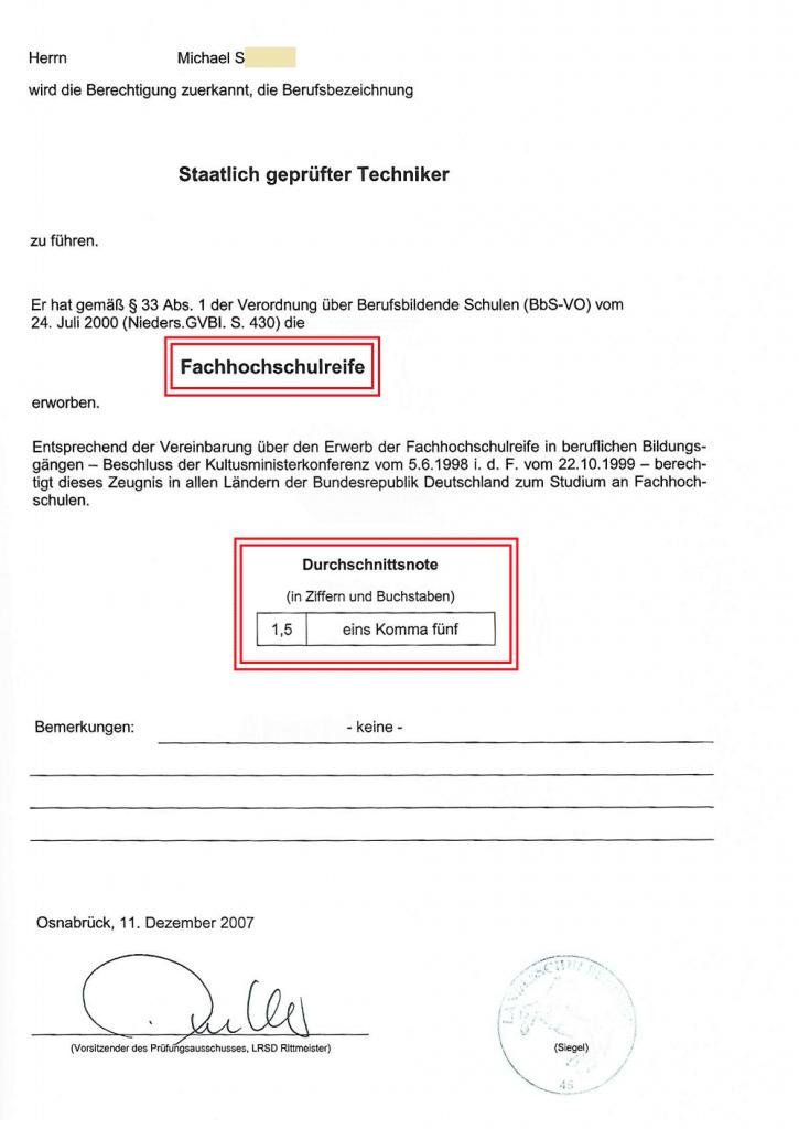 Staatlich geprüfter Techniker Technikerzeugnis - Abschlusszeugnis