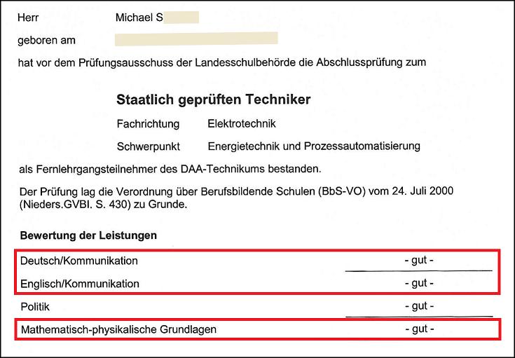 Techniker Zeugnis Auszug der Noten in Deutsch, Mahtematik und Englisch