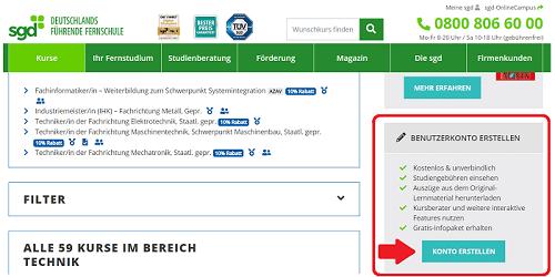Benutzerkonto für den SGD Techniker erstellen Screenshot
