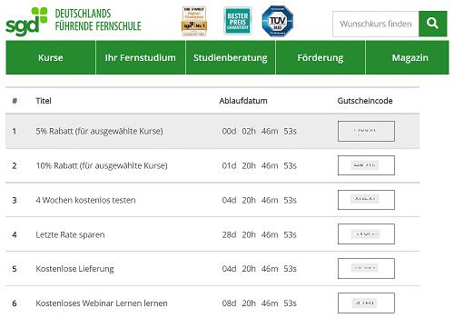 Der neuste SGD Gutscheincode - Screenshot SGD Website