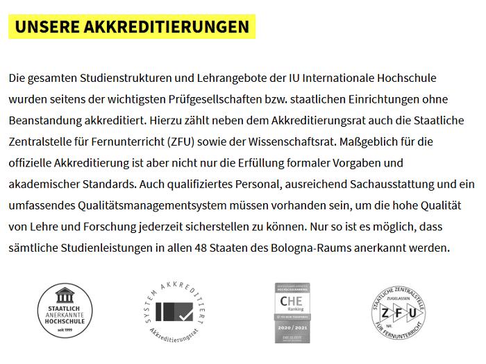 Die Akkreditierungen der IU - Internationalen Hochschule - Screenshot