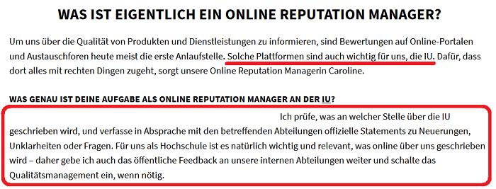 Die IU beschäftige einen Reputation Manager um das Feedback von Studierenden aufzuarbeiten. Screenshot IU Website